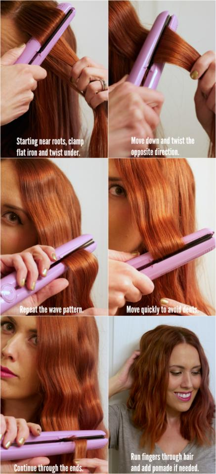 8.  Or create beach waves with your straightener using the instructions on this picture.