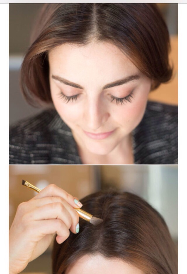 4. To make your hair look thicker, dust some eyeshadow, that is the same color as your hair, along your part.