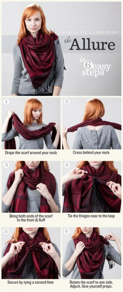 11.The Allure If you're not feeling your top but don't have other choice, tie your scarf like The Allure.