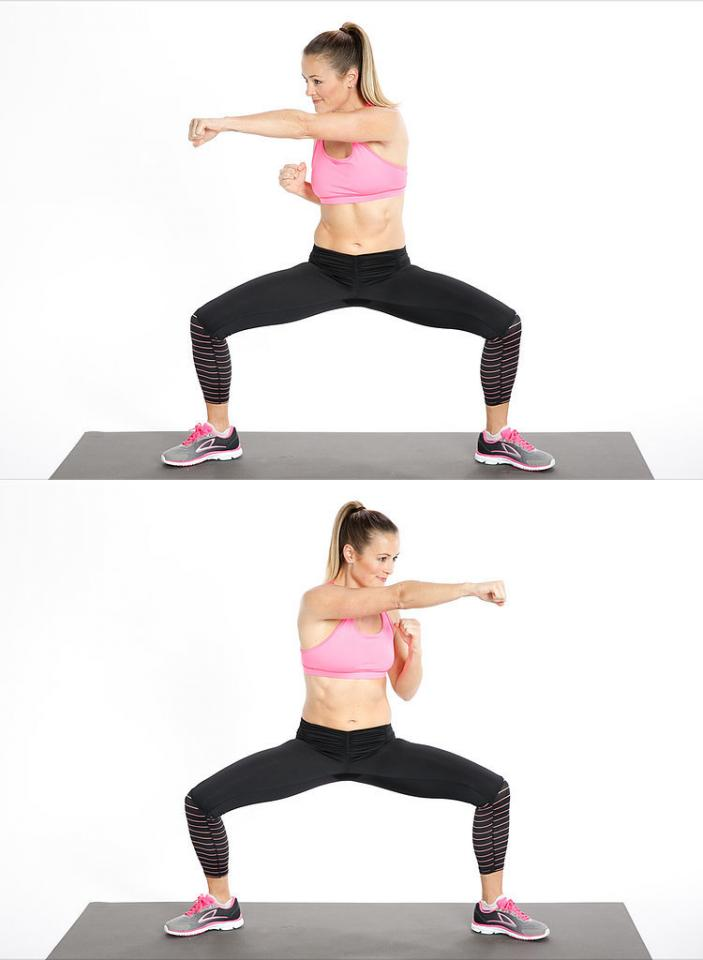 sumo squat and punch