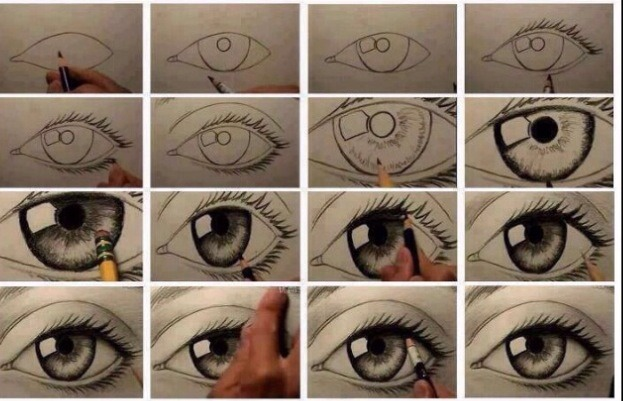 Click to enlarge easy way to draw an eye 😍