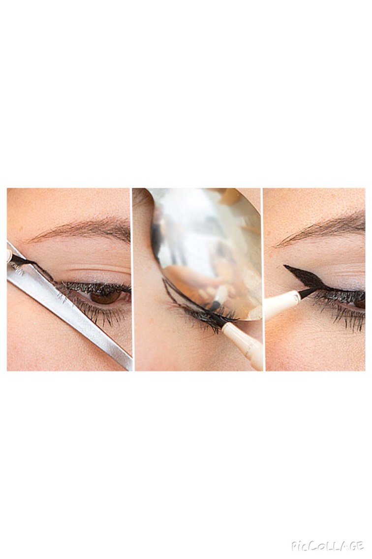"""Use a spoon to get the perfect """"cat eye""""."""