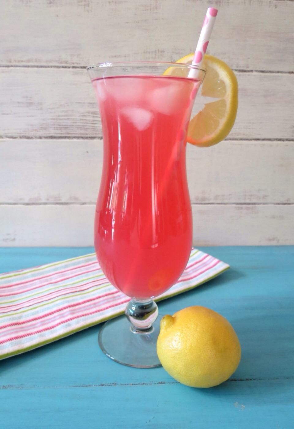 300g caster sugar, 1 1/2 lemons, 3 raspberries, 350ml water and ice