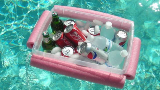 Make a floating cooler for the pool