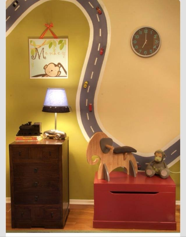 Use magnetic paint to paint a road in your child's playroom wall and glue magnets to cars.