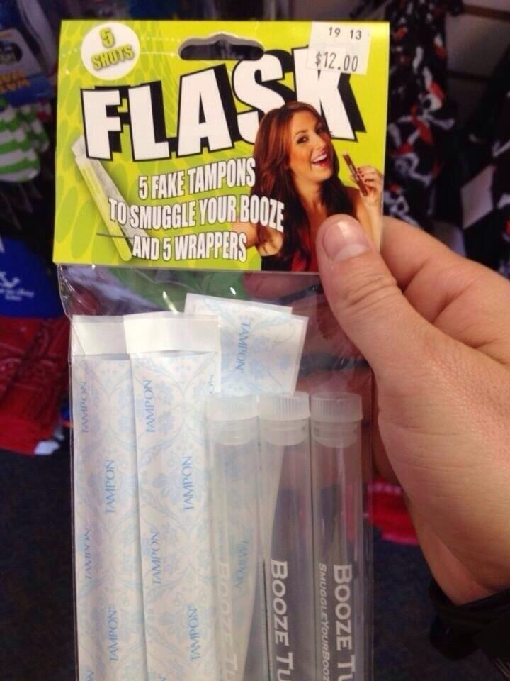 Their little plastic tubes to put alcohol in (eg. Vodka) put the lid on them, put them in those plastic bags and if your bags get checked security will think they're  tampons