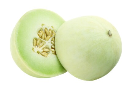 Cut your honeydew in half and scoop the seeds out from the middle.       *tastes way better if the honeydew is ripe*