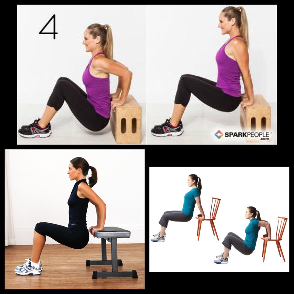 4. Tricep Dips - sit with your back to the step and place your hands behind you on the step. Lift and lower your body using your tricep muscles to do the work keeping your elbows in line with your wrists. Repeat 12 times.
