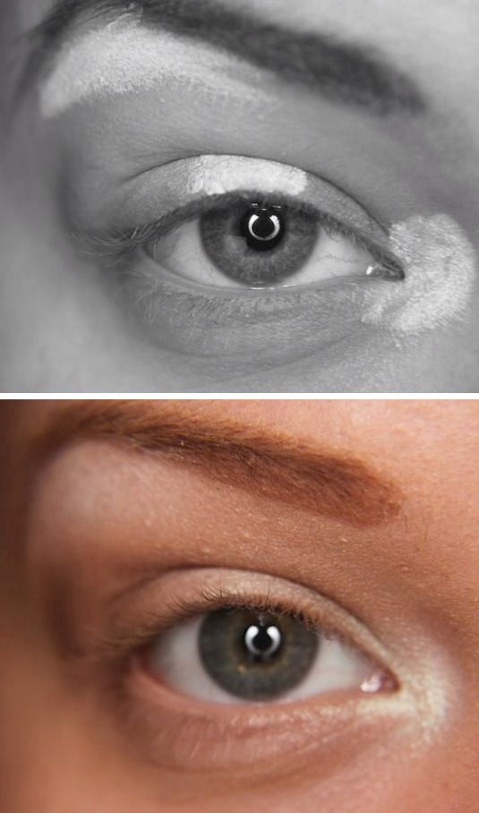 The placement of highlights is very important when trying to create naturally beautiful eye makeup. Your lighter colors (whites, creams, and pearls) should be applied in the inner corners, the middle of the eye, and just under your brow bone. Apply your lightest colors first, and then move on to you