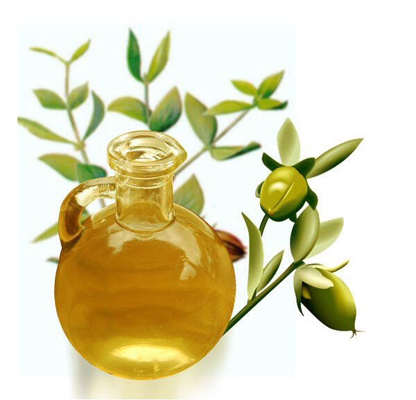 •Jojoba Oil Jojoba oil isn't actually an oil, it's a liquefied wax that is extracted from a shrub native to the southwestern US.  Jojoba oil is high in vitamins A, E and D and is great for all hair types. It can be found in several all-natural shampoos and hair products.