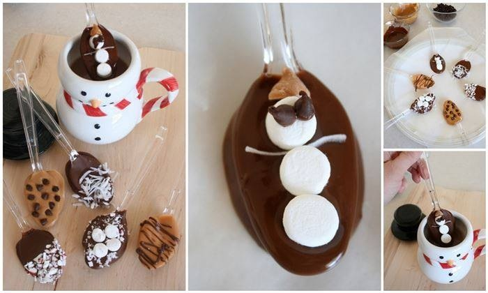Here's another fun Holiday party idea! Create these wonderful hot chocolate flavor spoons that are sure to please both kids and adults alike. I love the snowman idea. The marshmallows go perfect with hot coco too! ->>>>