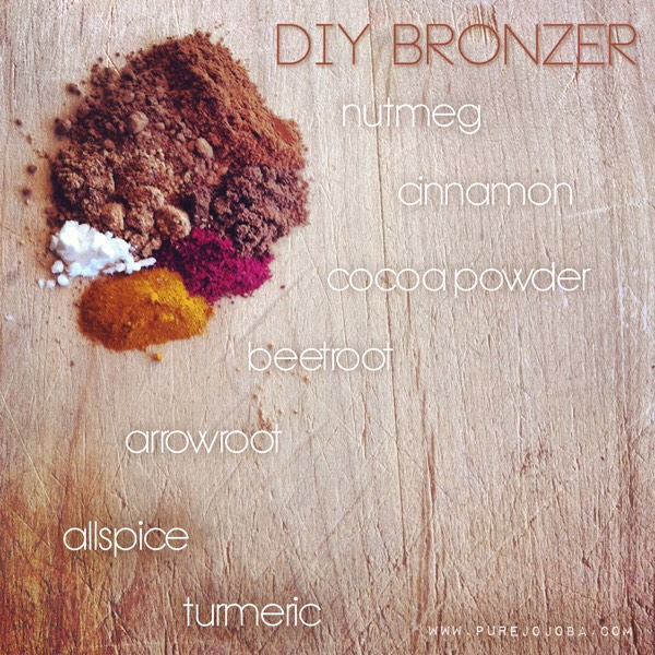 BRONZER |  This includes almost all of the ingredients: nutmeg, cinnamon, cocoa powder, beetroot powder, allspice, turmeric, + a little arrowroot. I started off with a base of cocoa powder + then added from there. There is only a touch of arrowroot, but you can add more or less depending on the color of your skin. The smallest addition of beetroot + turmeric will go a long way for adding to your tan, so start with small quantities when adding!
