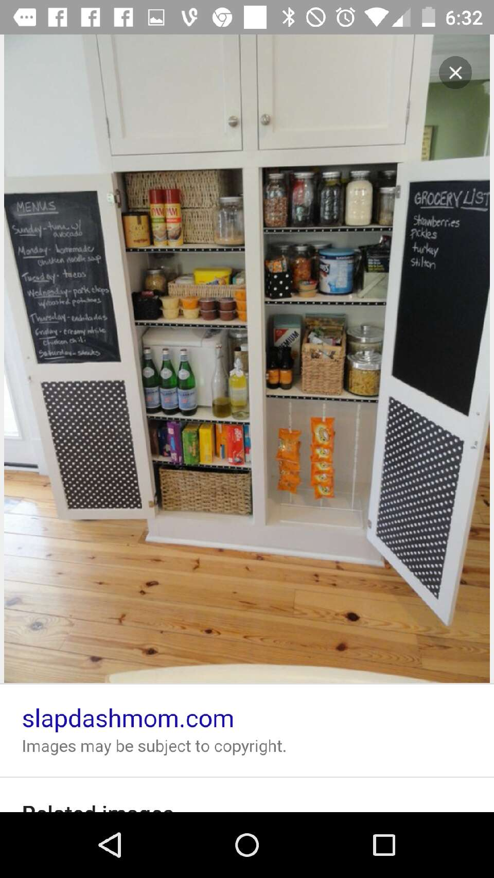 This would be perfect way to spice up an old cabinet. By using chalk board paint, and regular paint. I really like this idea because you be so unique with it and not only can you use it in your kitchen but, it could make good use in bedrooms.