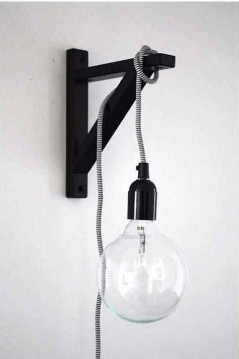26. For a space-saving lamp, hang a lightbulb on a cord off of a wall-mounted shelf bracket. This will look great in a minimalist space. Paint the cord, or cover it in washi tape or embroidery floss, if it's unsightly. Get the bracket from Ikea. http://m.ikea.com/us/en/catalog/products/art/60217228/