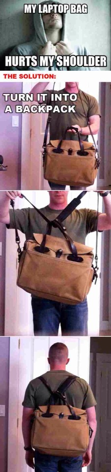 Turn your laptop bag into a backpack.