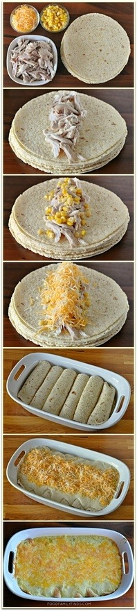 6-8 corn tortillas (enchilada size) 1 pre-cooked plain rotisserie chicken, shredded 1 cup sweet corn 4 cups shredded Mexican blend cheese, divided in half Sauce: 3 tablespoons butter 3 tablespoons all purpose flour 1-1/4 cups chicken broth 1 10oz can cream of chicken soup 1 cup sour cream 1 4oz can