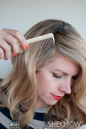 Start by making a deep side part on the right-hand side and brush your hair to remove any knots.