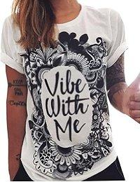 Abetteric Womens Crew Neck Floral Letters Printing Tshirt Tees Tops