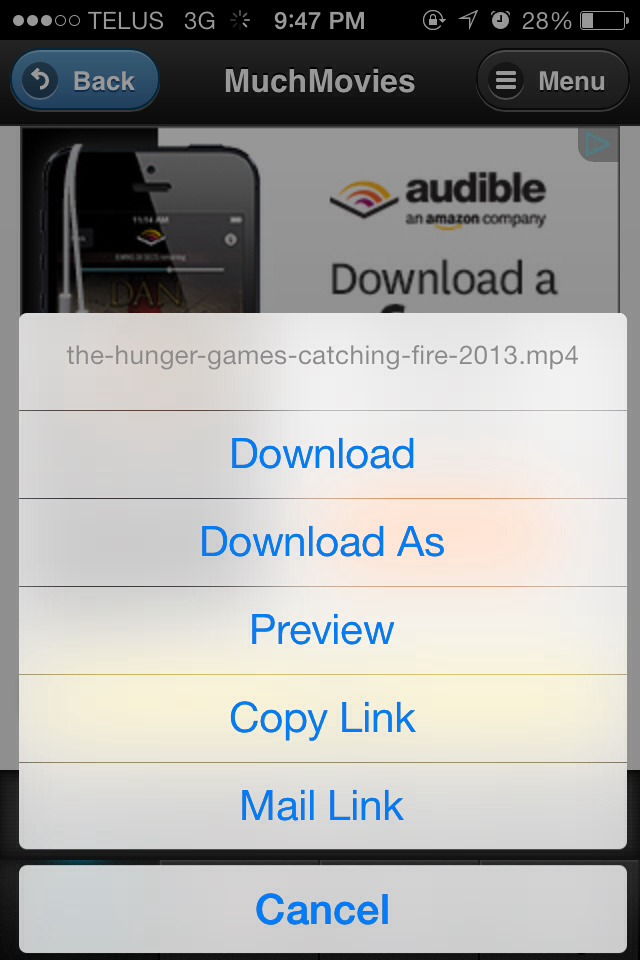 Step 7:  A pop-up will appear with a list of options to click on. Click on the very top one that says 'download'
