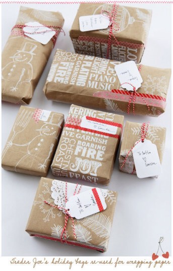 11. Or just use plain brown paper bags or parcel paper. The plain brown looks rustic & festive in its own way, & there are plenty of things you can add to make it look fancier, like letter stamps for the recipient's first name, or doodles