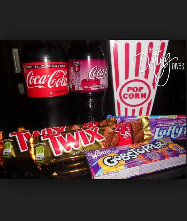 Have a lot of sweets and popcorn and fizzie drinks, treat yourself and your friends.