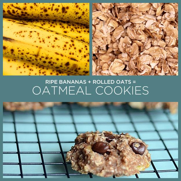 28. Ripe Bananas + Rolled Oats = Oatmeal Cookies