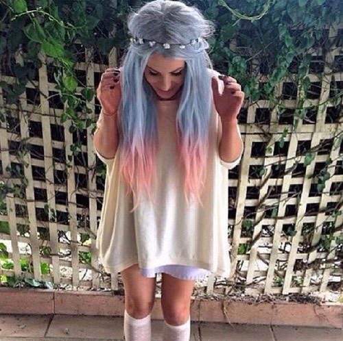 25. Dip Dyed Blue and Pink Hair with Flower Crown