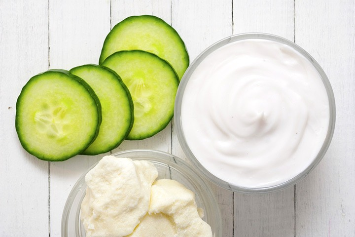 Cucumber mask  Ingredients 1/2 Raw Cucumber 1 tablespoon natural yoghurt 2-3 tablespoons oats  Blend The Cucumber And yoghurt in To a paste. Add The oats And blend. Apply The Cucumber face mask in a thick paste To your face avoiding The eyes, mouth And hairline. The mask need 10-20 min. And remove!
