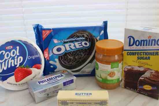 Ingredients:  24-28 Oreo cookies 4 tbsp melted Butter 1 cup Peanut Butter 8 oz softened Cream Cheese 1 cup Powdered Sugar
