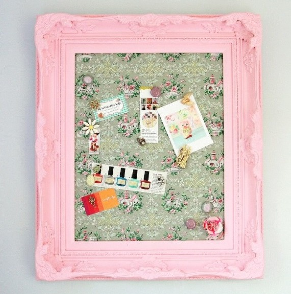 You can leave this as a pretty memo board or even turn this into a magnetic makeup board by sticking magnets on the backs of your makeup.