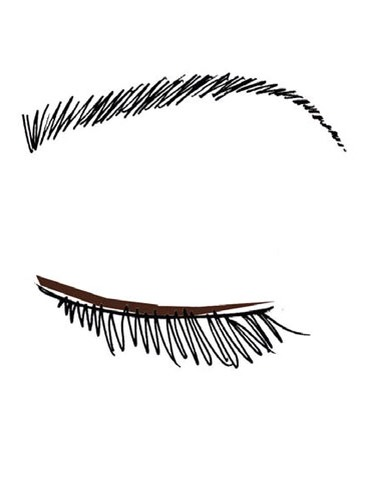 2.  Dip the tip of a dampened makeup brush into the darkest shadow, and draw a line across your upper and lower lash lines.