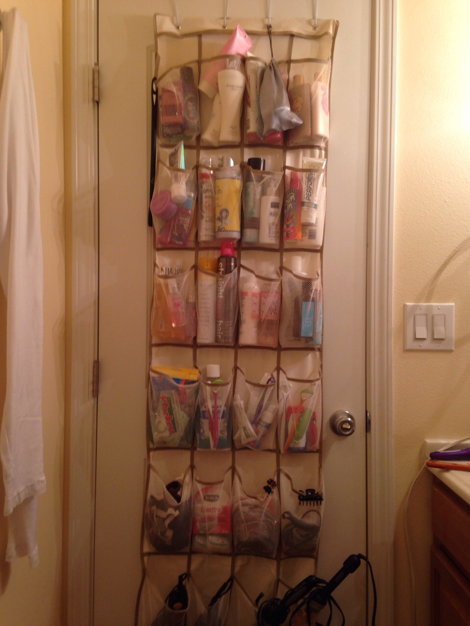 Beau Use Over The Door Shoe Organizer To Store Your Most Used Bathroom Stuff.