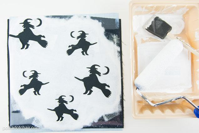 Lay your stencil out on your fabric. Make sure it's positioned correctly.