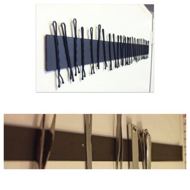 add a magnetic strip in your bathroom cabinet to support bobby pins, tweezers and nail clipper