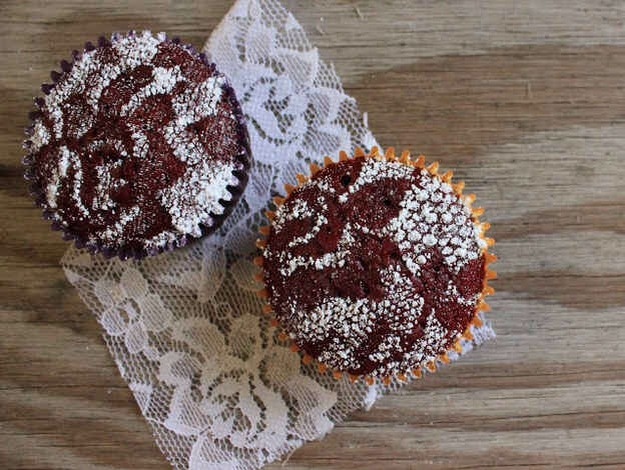 Don't have any frosting? Just sprinkle some powdered sugar through lace for an amazing design.