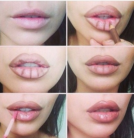How to lip contour💄 1. Line lips 2. Add more lines as shown in picture 3.add gloss