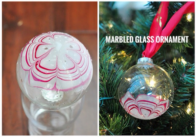 11 | DIY Marbled Glass Ornaments   Wouldn't these marbled glass ornaments look gorgeous on your tree this year?