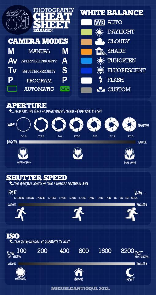 Here's a cheat sheet on aperture, shutter speed and ISO. It also shows camera modes and white balance.