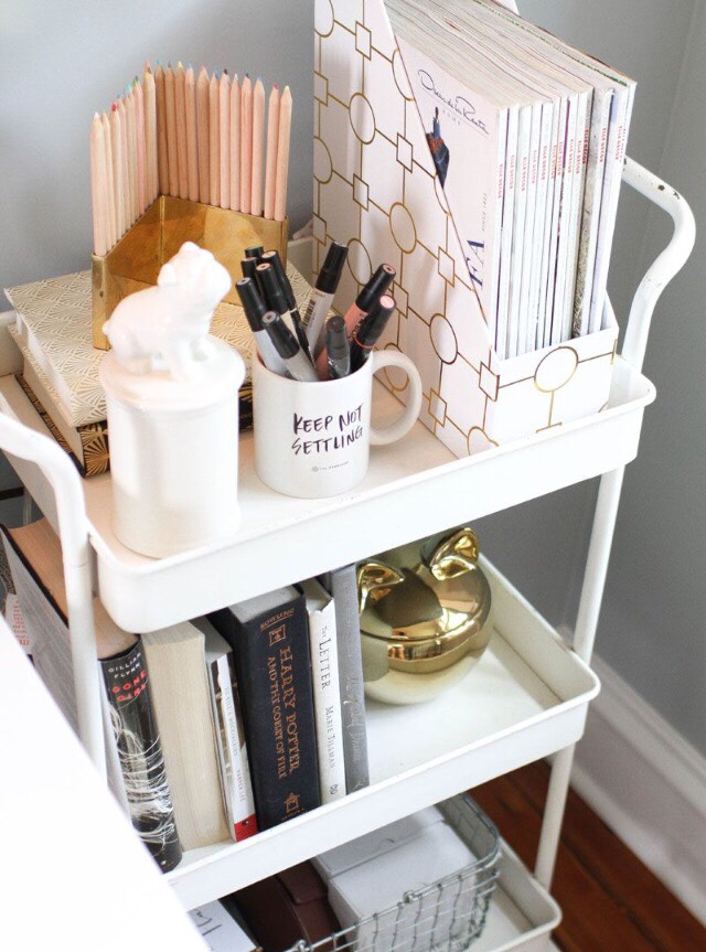 5. Bedside Cart: A bedside cart is an excellent means of organization!