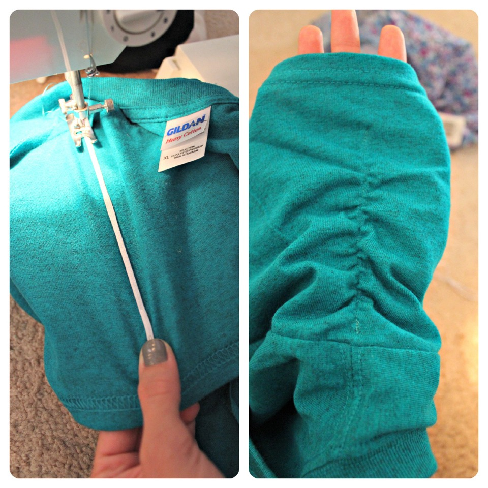 Next…the sleeves. I wanted to make them cute and ruched. So I put my thin elastic (that was a little bit shorter than the sleeve) at the top (where the shoulder meets the sleeve) and made a few stitches to keep it from moving. Then, I held it tight near the bottom as I sewed it down.