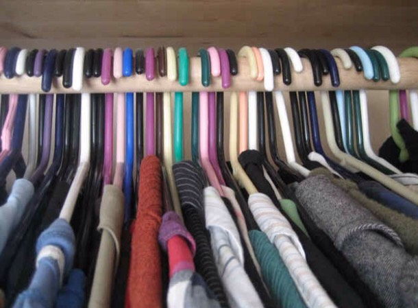 Need to clean out your closet but don't know where to start?  Put all your clothes on hangers facing one way.  After you wear something put it the hanger on the rack the opposite way with the clothes on it. At the end of the month (or so) all the hangers facing the first way, donate the!