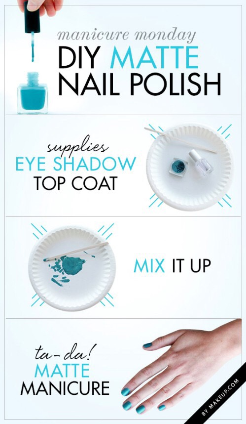 * Mix any eyeshadow with your clear topcoat for a perfect matte look.