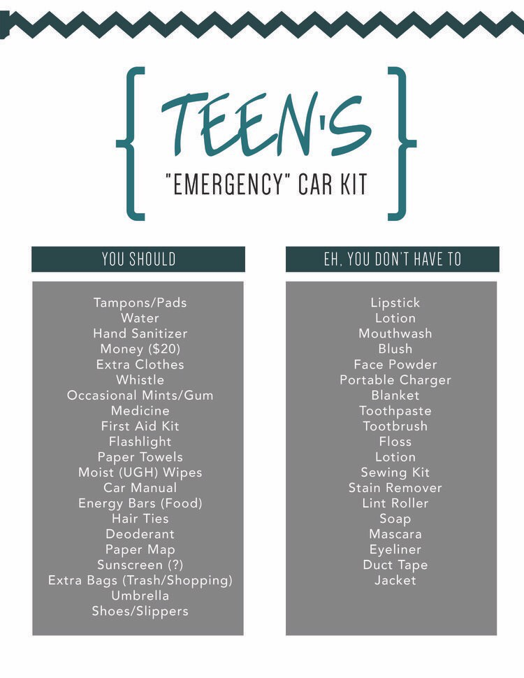 Emergency car kit for teen drivers