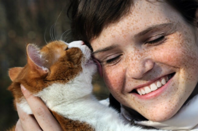 4. Your cat wants to do your hair and lick your face: When a cat licks you with a tongue like sandpaper, it might not feel so friendly -- but a certain amount of grooming or licking, Siracusa says, indicates closeness.