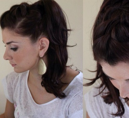 The triple French braid ponytail!!! Step#1: part the top of you hair into 3 sections vertically Step#2 French braid all the sections & pin it down so it stays. Step#3: last but not least bring the hair altogether into a high ponytail! (: