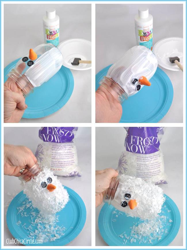 Don't worry, the Decou-Page dries clear, and the thicker the better. You want the Frosty Snow nice and fluffy on the outside of the jar. The thicker the layer of Decou-Page, the more Frosty Snow will stick to it.