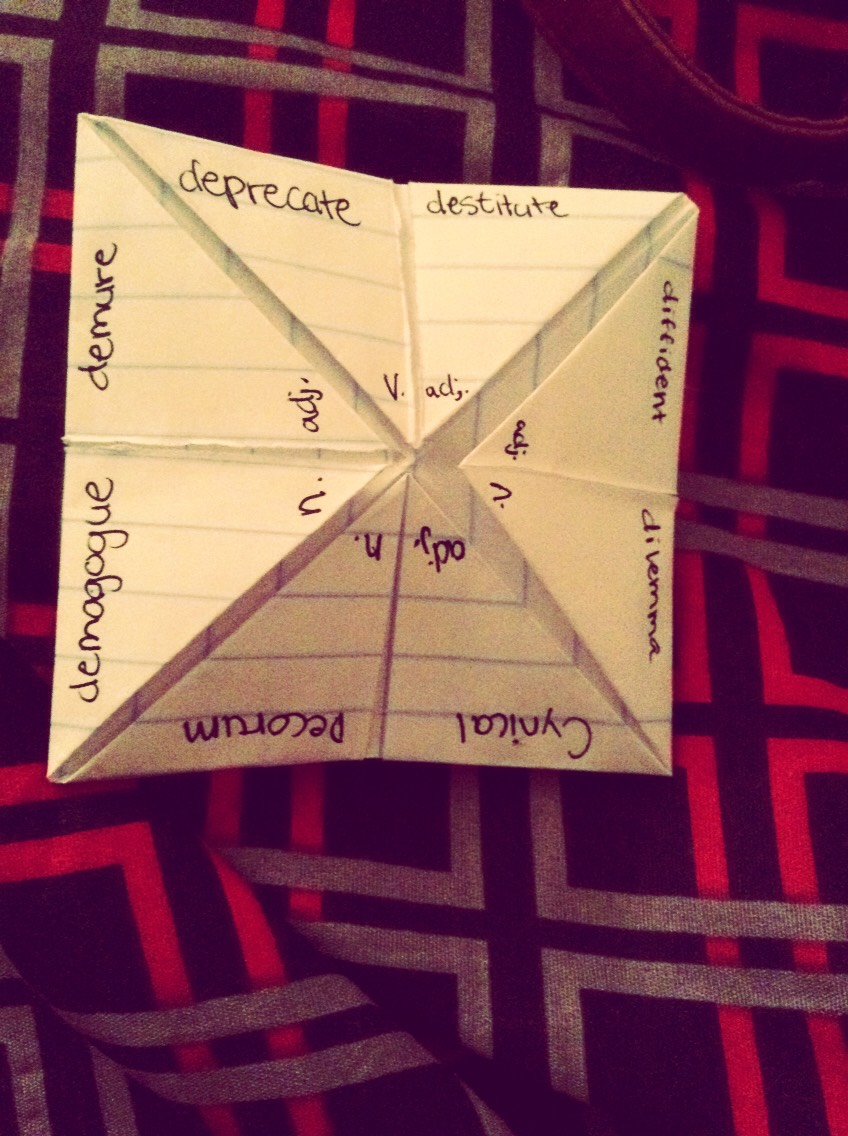8) Put your vocabulary words on a space.