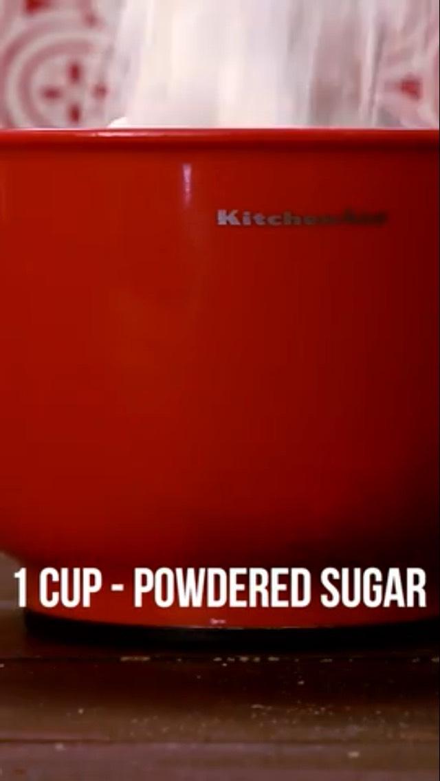 Add 1 cup of powdered sugar 🍭🍬🍭