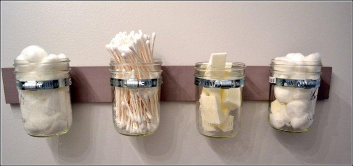 Mason jars are perfect for storing Q-tips, sponges and cotton.