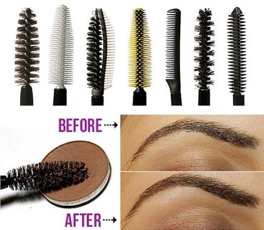 Instead of tossing them in the trash when your mascara expires, wash and repurpose those wands! You can use them as an eyebrow brush, even applying a bit of color before sweeping across your brows. Or, spray with hairspray and use them to brush and keep your eyebrows in place.